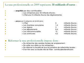 La taxe professionnelle en 2009 repr sente 35 milliards deuros :
