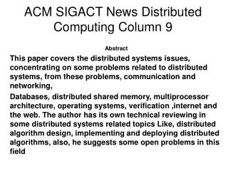 ACM SIGACT News Distributed  Computing Column 9