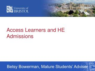 Access Learners and HE Admissions