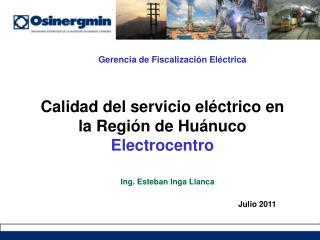 Calidad del servicio el ctrico en la Regi n de Hu nuco Electrocentro