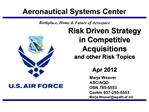 Risk Driven Strategy in Competitive Acquisitions and other Risk Topics  Apr 2012