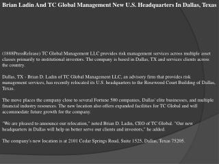 Brian Ladin And TC Global Management New U.S. Headquarters I