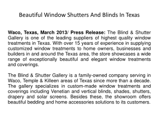 Beautiful Window Shutters And Blinds In Texas