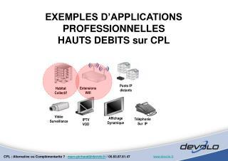 EXEMPLES D APPLICATIONS PROFESSIONNELLES HAUTS DEBITS sur CPL