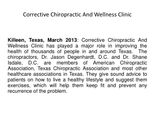 Corrective Chiropractic And Wellness Clinic