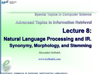 Special Topics in Computer Science   Advanced Topics in Information Retrieval   Lecture 8:   Natural Language Processing