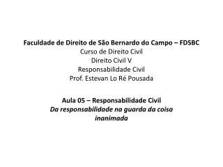 Faculdade de Direito de S o Bernardo do Campo   FDSBC Curso de Direito Civil Direito Civil V Responsabilidade Civil Prof