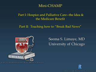 Mini-CHAMP   Part I: Hospice and Palliative Care--the Idea   the Medicare Benefit  Part II:  Teaching how to  Break Bad