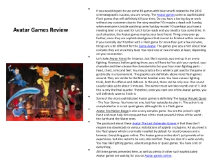 Avatar Games Review