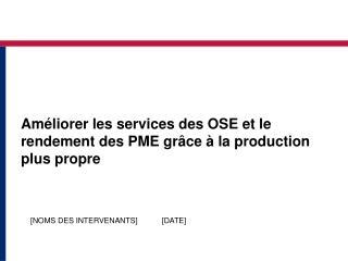 Am liorer les services des OSE et le rendement des PME gr ce   la production plus propre