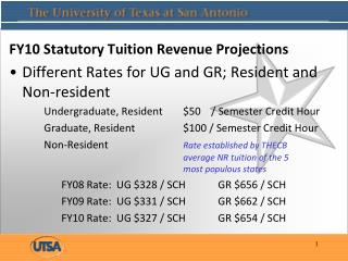 FY10 Statutory Tuition Revenue Projections Different Rates for UG and GR; Resident and Non-resident Undergraduate, Resid