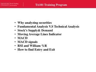 TA101 Training Program