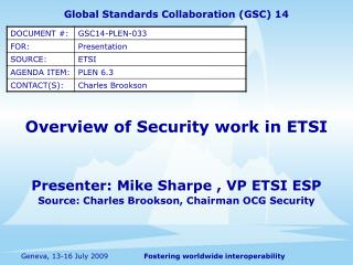 Overview of Security work in ETSI