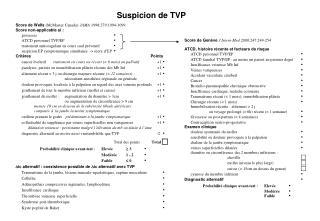 Score de Wells McMaster Canada JAMA 1998;279:1094-1099 Score non-applicable si :  grossesse                ATCD personn