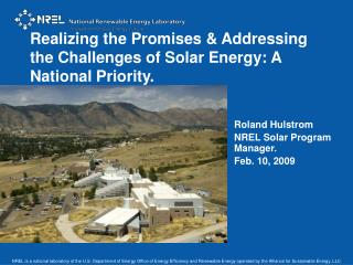 Realizing the Promises  Addressing the Challenges of Solar Energy: A National Priority.