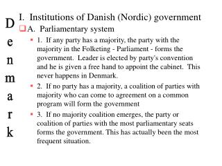 I.  Institutions of Danish Nordic government