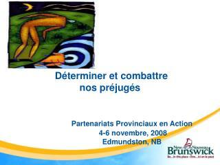 D terminer et combattre  nos pr jug s      Partenariats Provinciaux en Action     4-6 novembre, 2008   Edmundston, NB