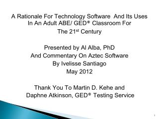 A Rationale For Technology Software  And Its Uses In An Adult ABE