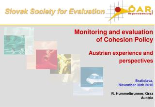 Monitoring and evaluation  of Cohesion Policy    Austrian experience and perspectives