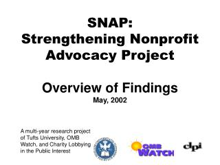 SNAP: Strengthening Nonprofit Advocacy Project  Overview of Findings  May, 2002