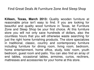 Find Great Deals At Furniture Zone And Sleep Shop