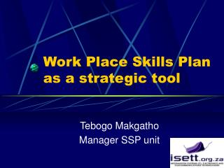 Work Place Skills Plan as a strategic tool