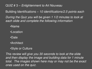 QUIZ  3   Enlightenment to Art Nouveau