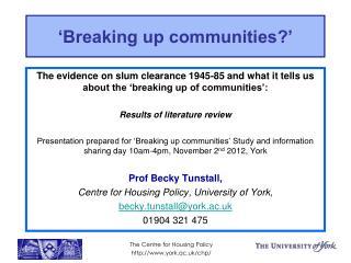 Breaking up communities