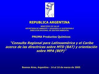 PNUMA Productos Qu micos    Consulta Regional para Latinoam rica y el Caribe acerca de las directrices sobre MTD BAT y o