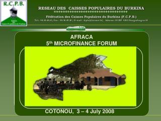 RESEAU DES  CAISSES POPULAIRES DU BURKINA   F d ration des Caisses Populaires du Burkina F.C.P.B. T l.: 50.30.48.41, Fax