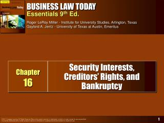 Security Interests,  Creditors  Rights, and Bankruptcy