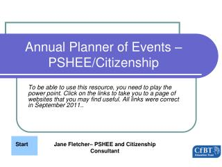 Annual Planner of Events   PSHEE