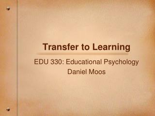 Transfer to Learning