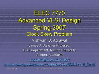 ELEC 7770 Advanced VLSI Design Spring 2007 Clock Skew Problem