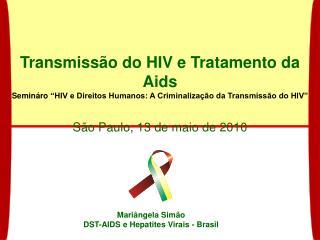 Transmiss o do HIV e Tratamento da Aids Semin ro  HIV e Direitos Humanos: A Criminaliza  o da Transmiss o do HIV   S o P