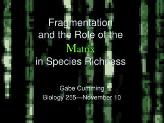 Fragmentation  and the Role of the  Matrix in Species Richness