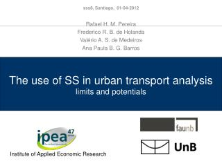 The use of SS in urban transport analysis  limits and potentials