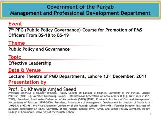Government of the Punjab  Management and Professional Development Department