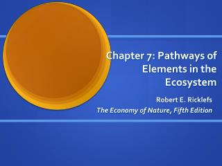 Chapter 7: Pathways of Elements in the Ecosystem