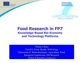 Food Research in FP7 Knowledge-Based Bio-Economy and Technology Platforms