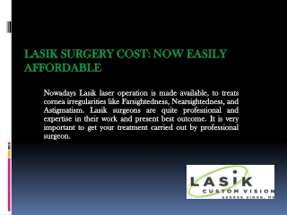Lasik Surgery Cost: Now Easily Affordable