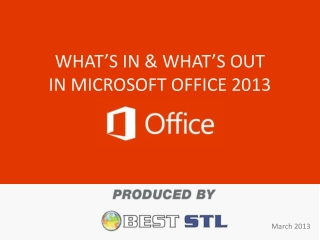 Microsoft Office 2013 - What's In and What's Out