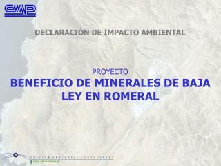 PROYECTO BENEFICIO DE MINERALES DE BAJA LEY EN ROMERAL
