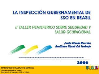 LA INSPECCI N GUBERNAMENTAL DE SSO EN BRASIL       II TALLER HEMISFERICO SOBRE SEGURIDAD Y SALUD OCUPACIONAL  Junia Mari