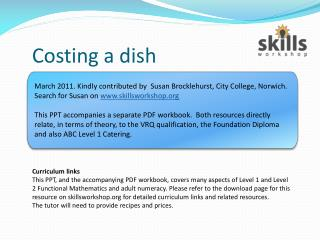 Costing a dish