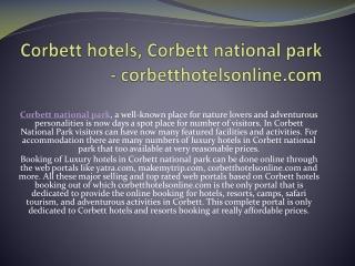 Corbett hotels, Corbett national park - corbetthotelsonline.