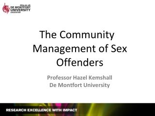 The Community Management of Sex Offenders