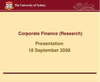 Corporate Finance Research