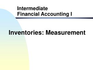 Inventories: Measurement