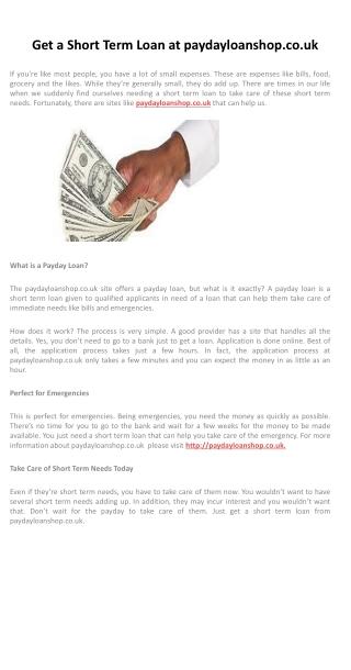 Get a Short Term Loan at paydayloanshop.co.uk